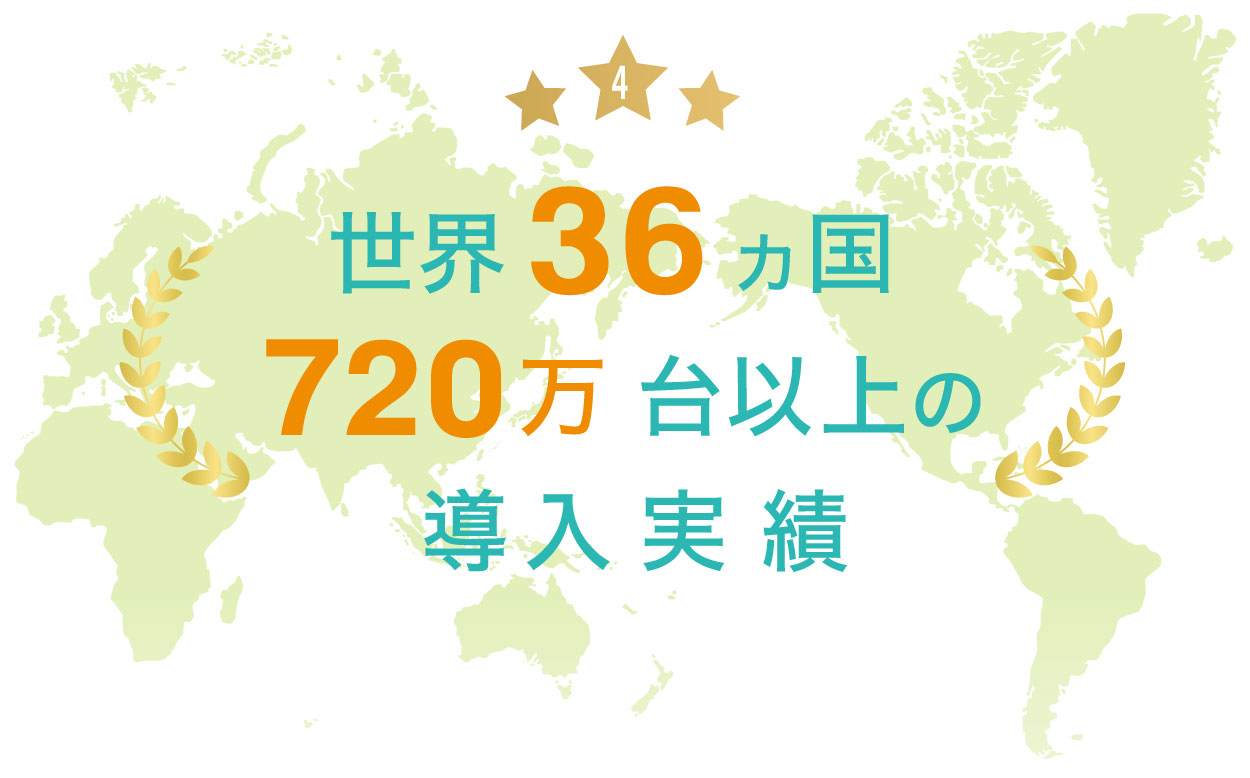世界36カ国720万台以上の導入実績
